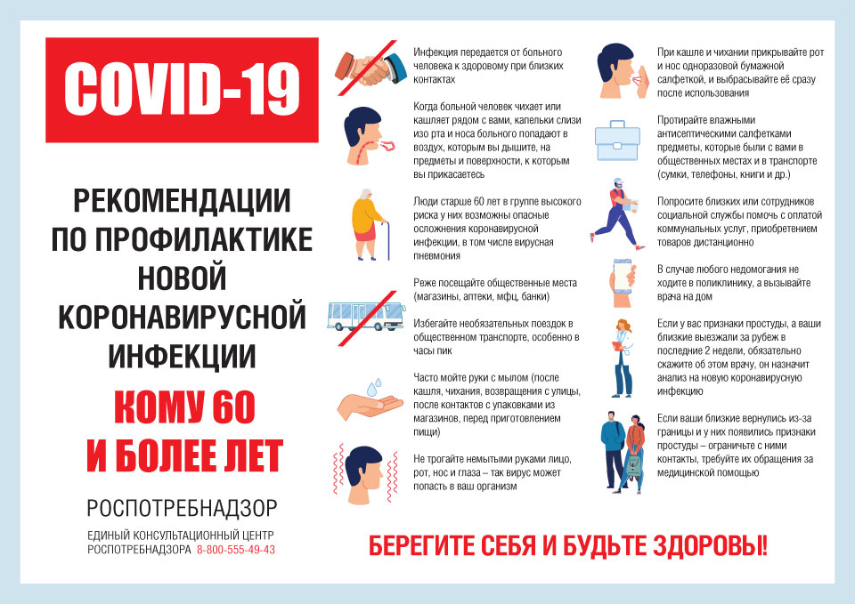 Рекомендации по профилактике новой Коронавирусной инфекции «Кому 60 и более лет». COVID-19